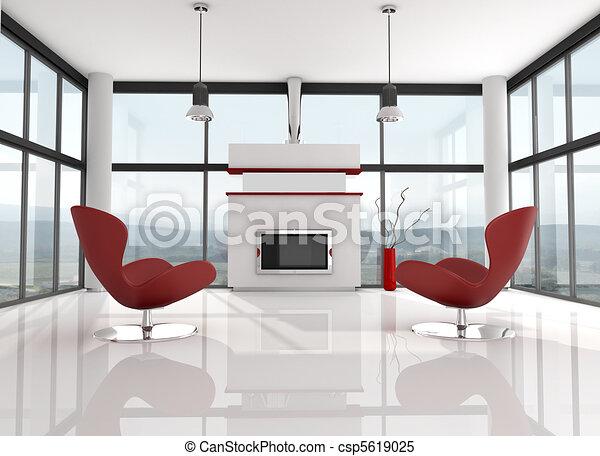 minimalist lwhite lounge - csp5619025