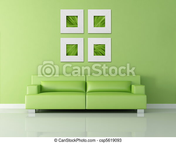 Drawings Of Green Leather Couch - Green Modern Interior With