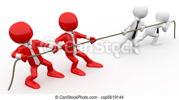3D human pulling a rope - csp5619144