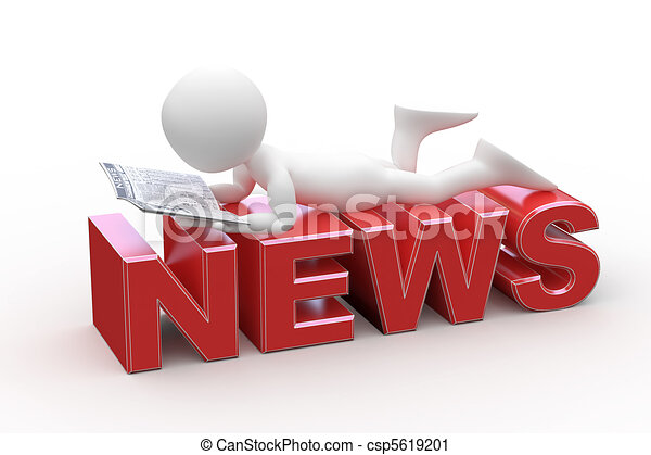 Man lying on the News words - csp5619201