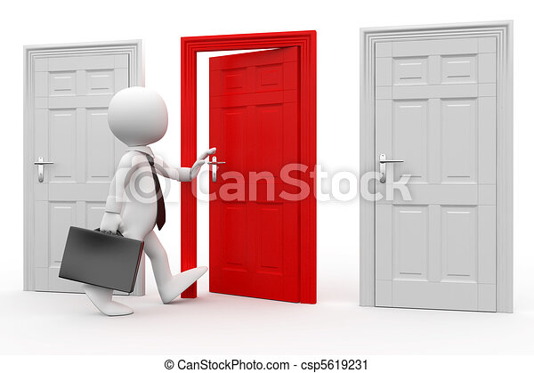 Man with entering a red door - csp5619231