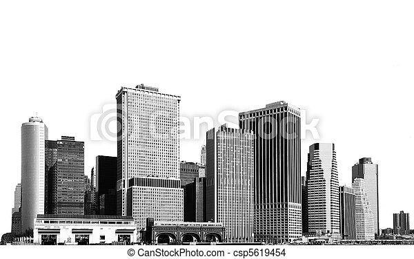 cityscape - silhouettes of skyscrapers - csp5619454