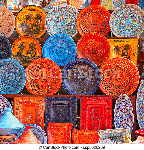 earthenware in tunisian market - csp5620289