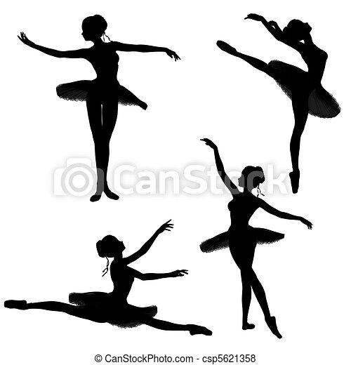 Ballet Dancer Silhouettes - 2 - csp5621358