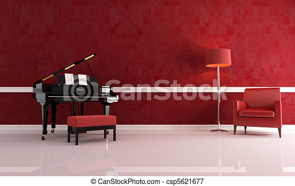 luxury music room - csp5621677