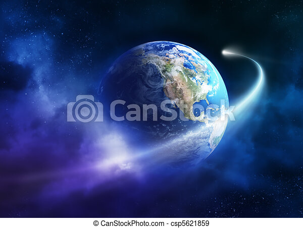 Comet moving passing planet earth - csp5621859