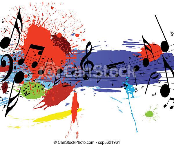 grunge notes staff  - csp5621961