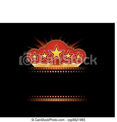 Clipart Vector of Blank movie, theater or casino marquee with ...