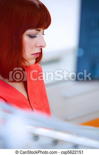 Image of young lady with dentist over her checking oral cavity   - csp5622151