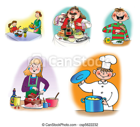Clip Art of People eating and cooking - Hand drawn illustrations ...