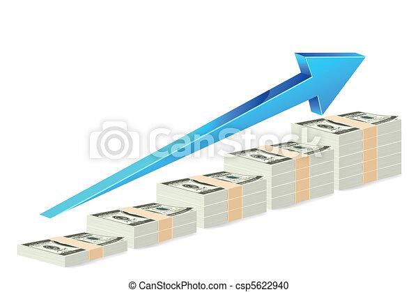 Dollar Note Bar Graph - csp5622940