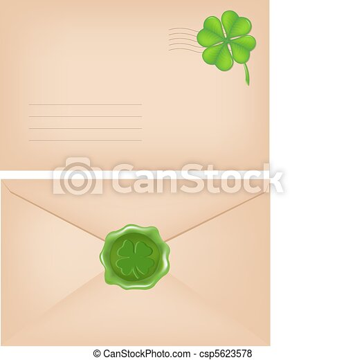 Envelopes With Wax Seal And Clover - csp5623578