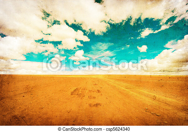 grunge image of desert road - csp5624340