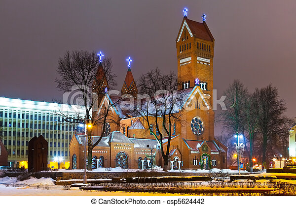Ancient Christian church at night in Minsk, Belarus - csp5624442