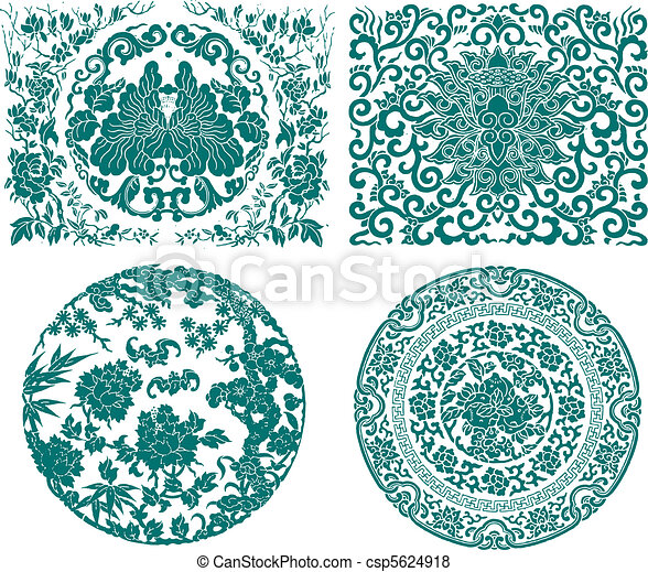 chinese oriental flower  - csp5624918