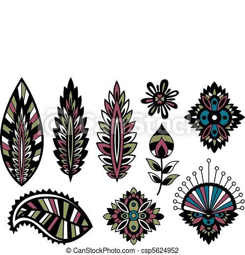 flor, folha, coloridos, desenho - csp5624952
