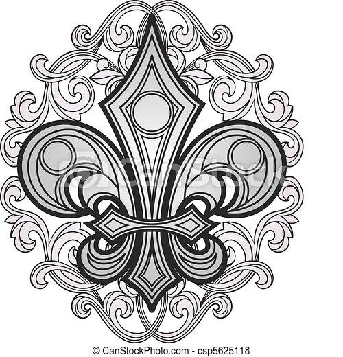 shield symbol with swirl ornament - csp5625118