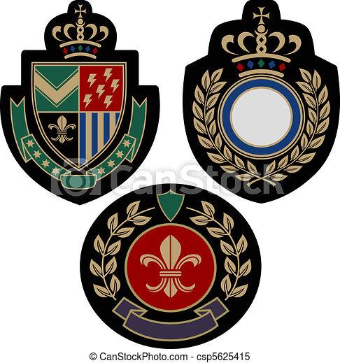 Vector Illustration of Emblem shield military badge logo ...