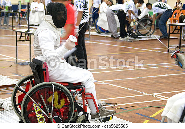 Wheel chair fencing for disabled persons.