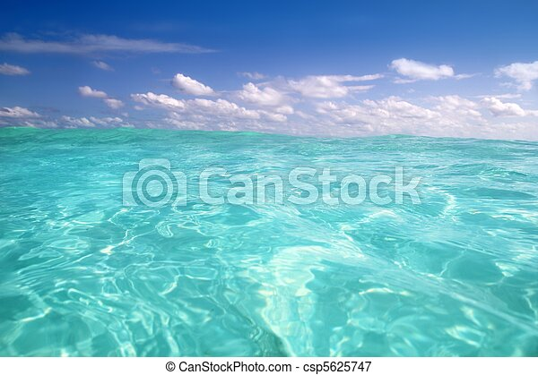blue caribbean sea water wave horizon - csp5625747
