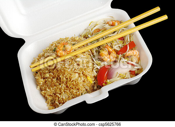 Chinese takeout food: Fried rice with king prawns and vegetables with wooden chopsticks in a styrofoam box photographed from top on black  - csp5625766