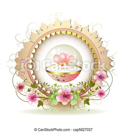Circular floral frame - csp5627037