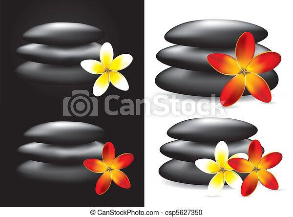 Spa hot stones and flower - csp5627350