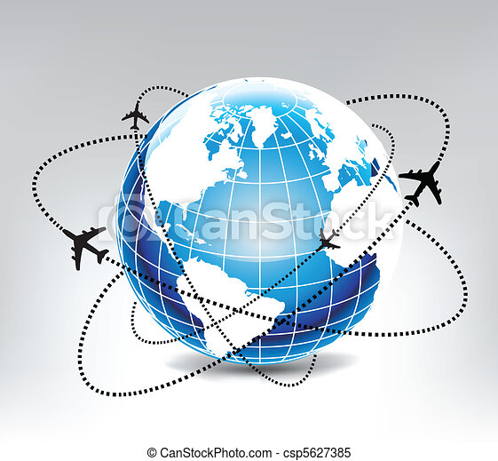airplane route in blue world - csp5627385