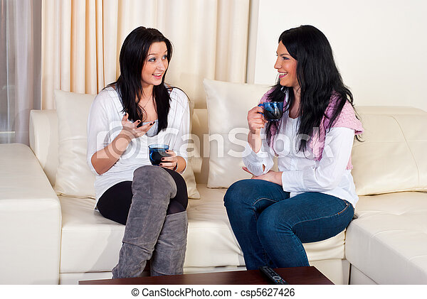Two friends women conversation home - csp5627426