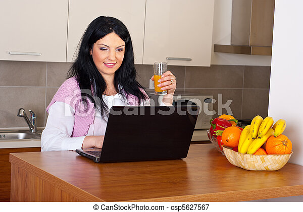 Smiling woman suing laptop in kitchen - csp5627567
