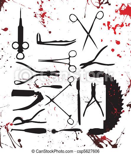 bloody surgery tools - csp5627606