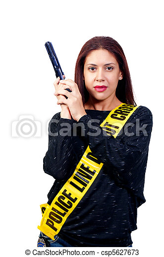 Woman with Gun - csp5627673