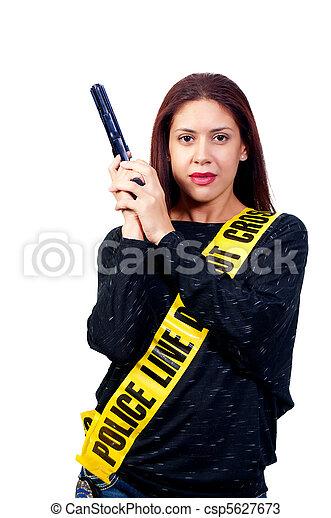 Woman with Gun - csp5627673