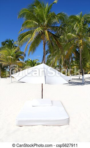 parasol beach tropical umbrella mattress palm trees - csp5627911