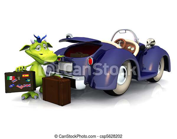 Cute cartoon monster going on a car trip. - csp5628202