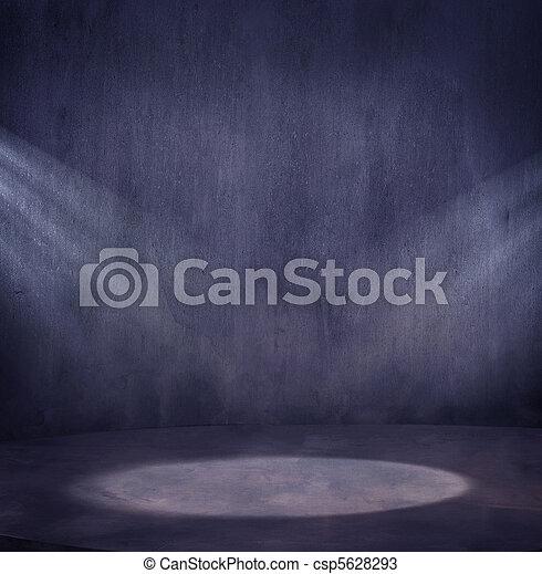 Empty grungy scene with 2 light spo - csp5628293