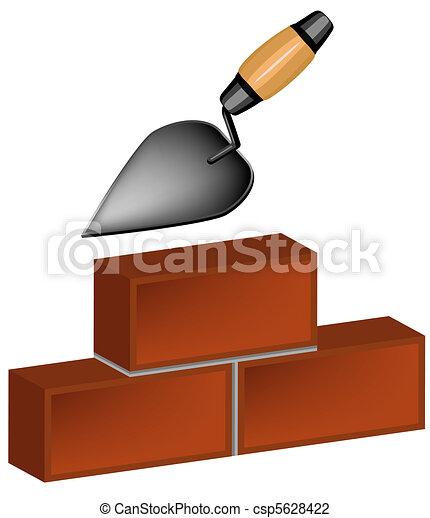 trowel and bricks - csp5628422