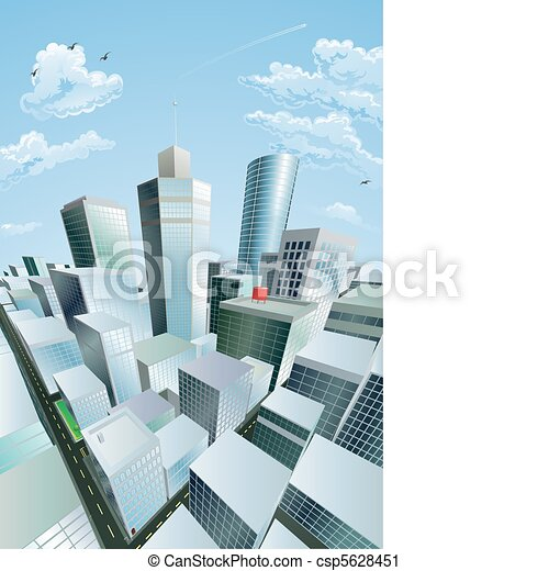 Modern cityscape of city centre financial district - csp5628451