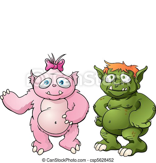 Cute monster cartoon characters - csp5628452