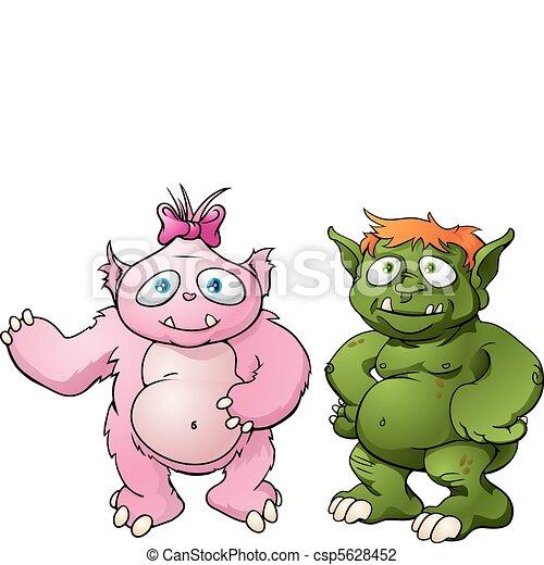 Cute monster cartoon characters - csp5628452