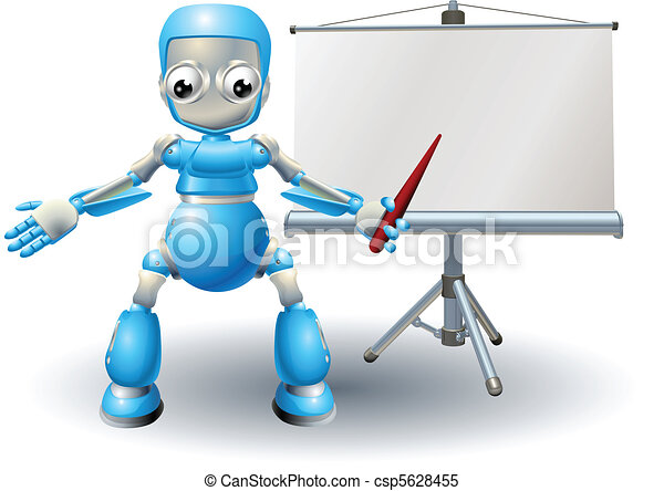 A robot mascot character presenting on roller screen - csp5628455