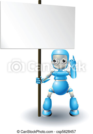Cute robot character holding sign - csp5628457