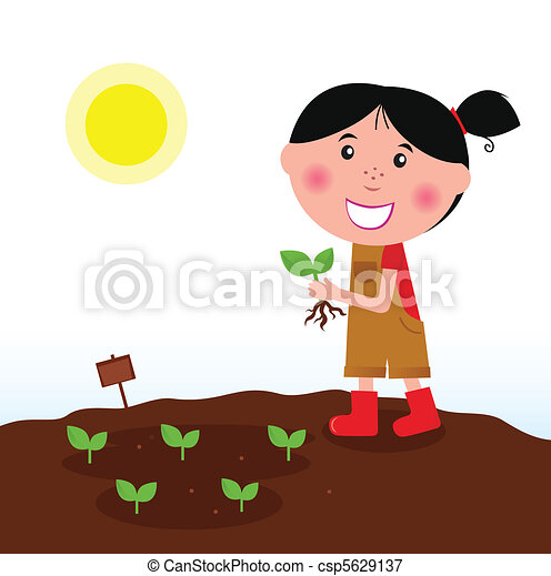 Gardening girl in red boots - csp5629137