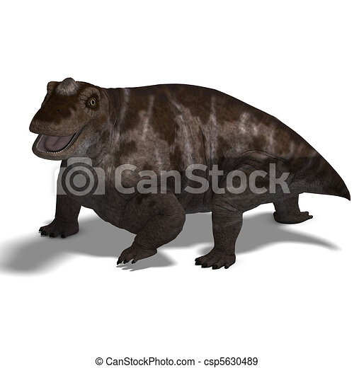 Dinosaur Keratocephalus. 3D rendering with  and shadow over white - csp5630489