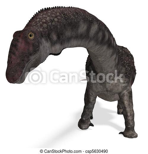 Dinosaur Diamantinasaurus. 3D rendering and shadow over white - csp5630490