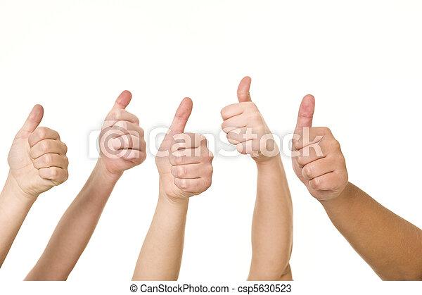 Five hands doing thumbs up - csp5630523