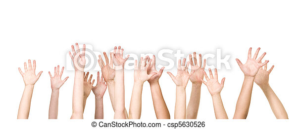 Group of Hands in the air - csp5630526