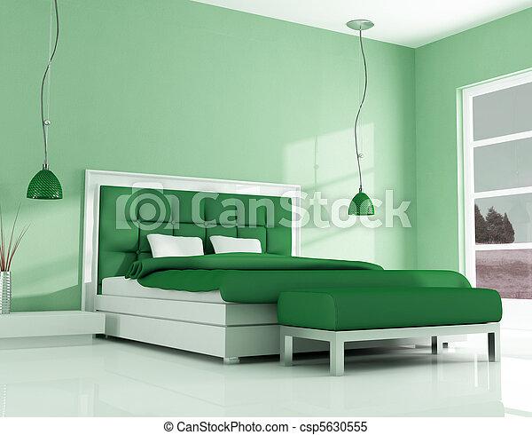 Photo vert moderne chambre coucher image images photo libre de droits photos sous for Chambre a coucher marron et vert
