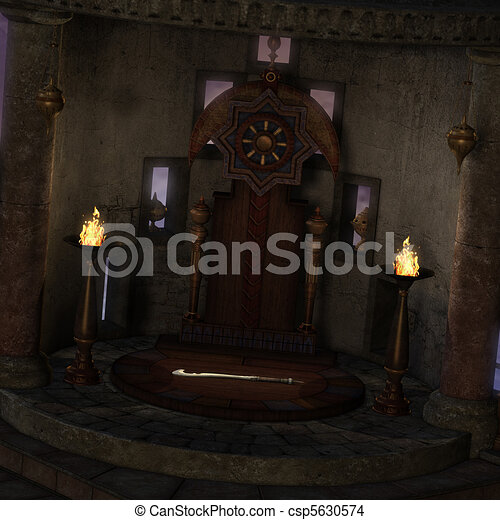 archaic altar or sanctum in a fantasy setting. 3D rendering of a fantasy theme. ideal for background usage. - csp5630574