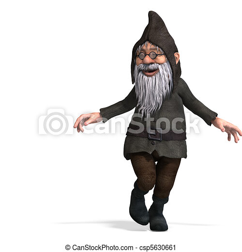 cute and funny cartoon garden gnome.3D rendering with  and shadow over white - csp5630661
